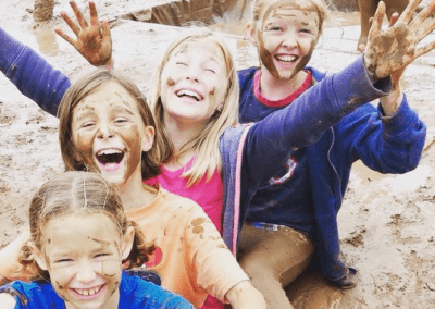 Happy Girls in the mud